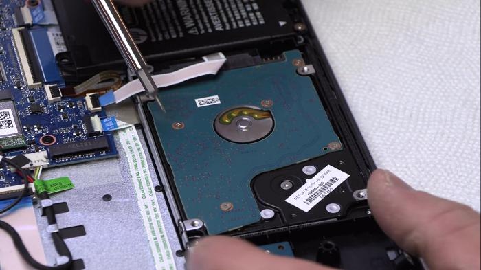حذف هارد HDD در لپ تاپ HP